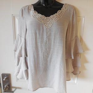 Spense Blouse Ruffle Bell Sleeves Crochet LaceTrim